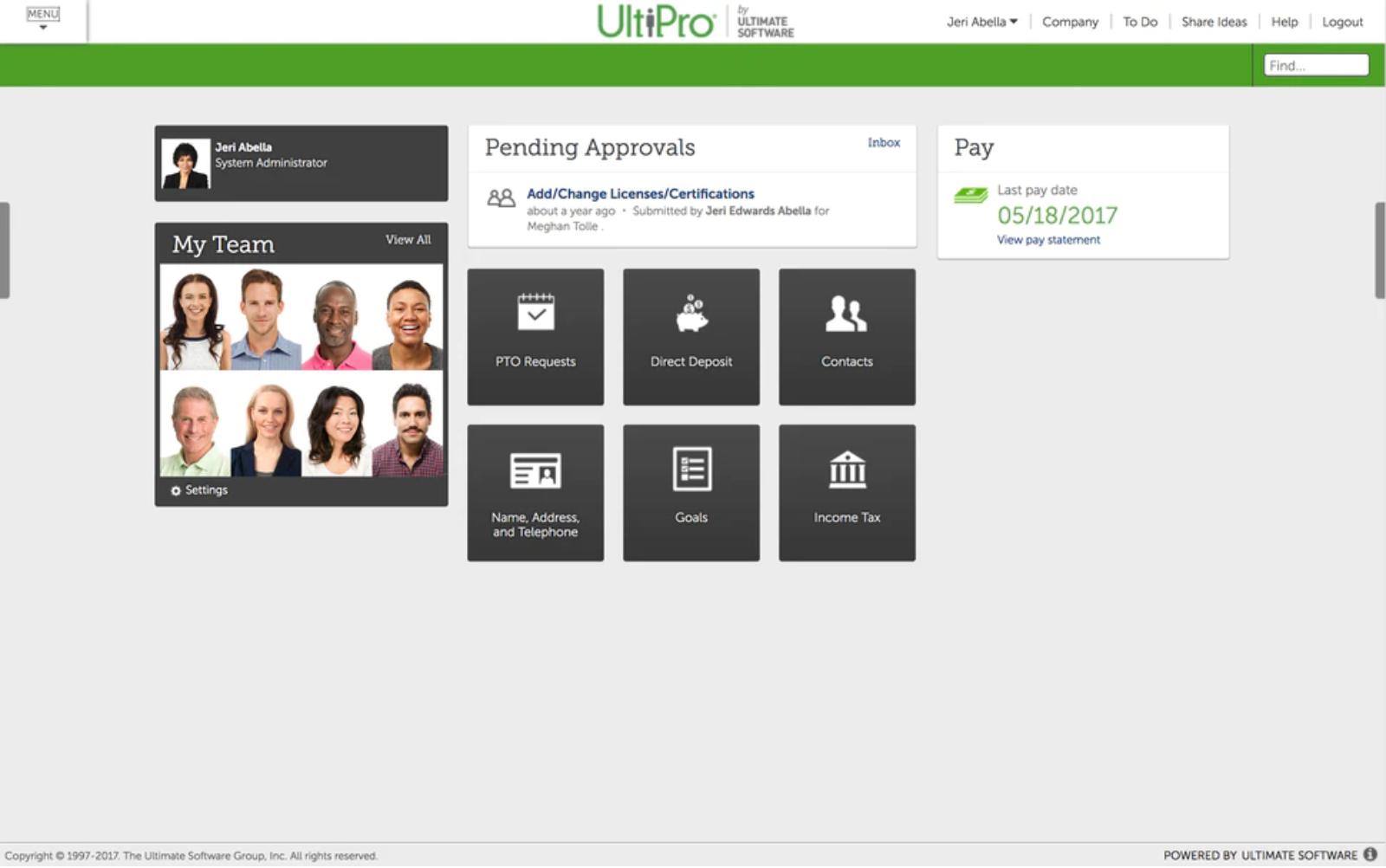 UltiPro - Dashboard