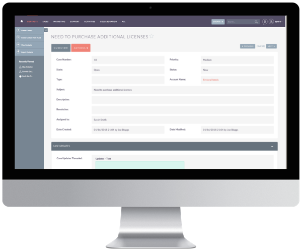 Customer support issues can be managed in the Cases module where staff can manage interactions, provide support, and manage tasks