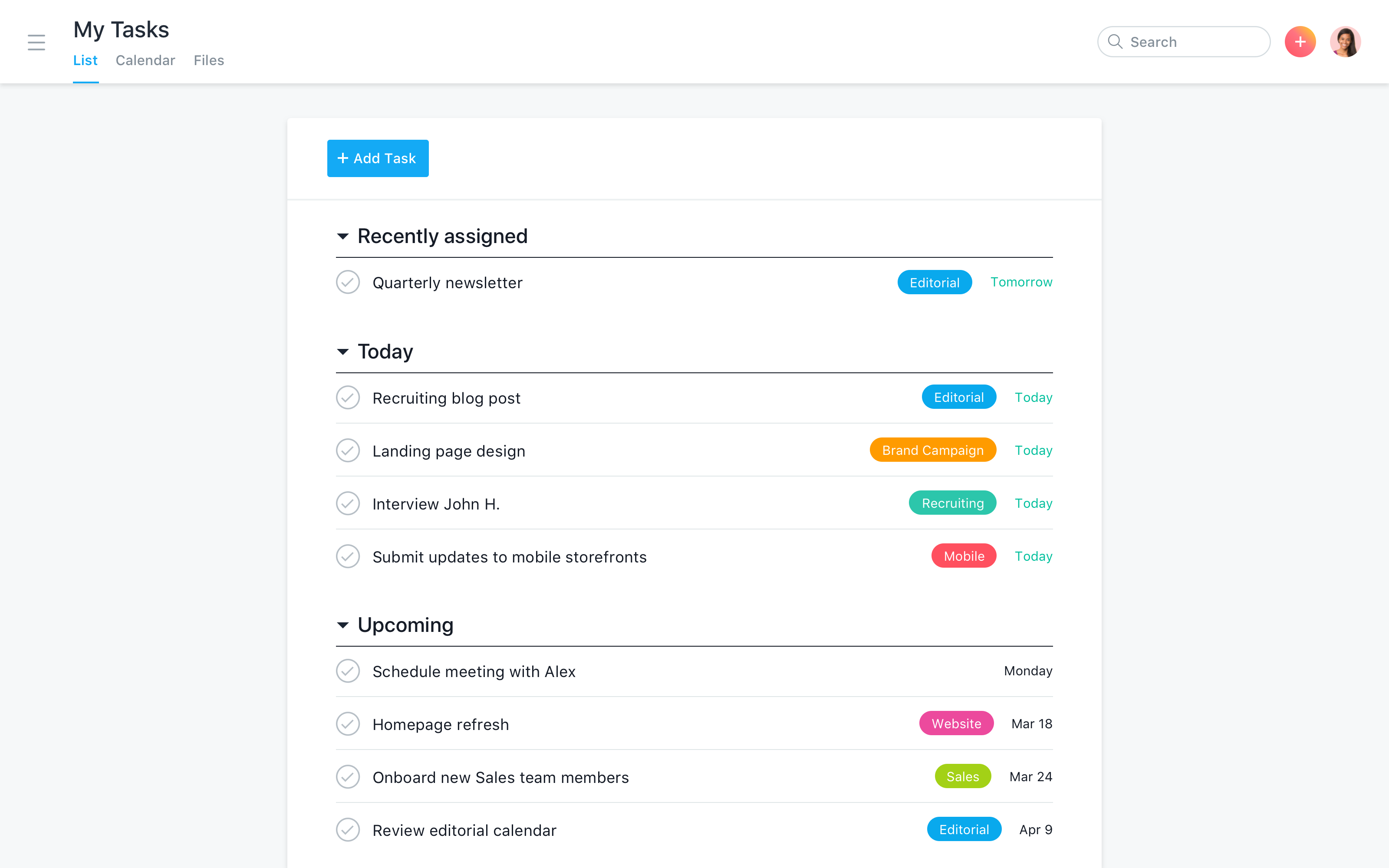 Create customizable to-do lists to prioritize and organize work in your My Tasks.