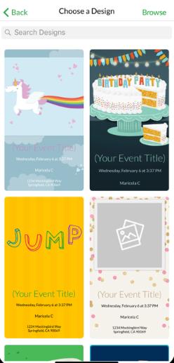 Evite choose invitation's design