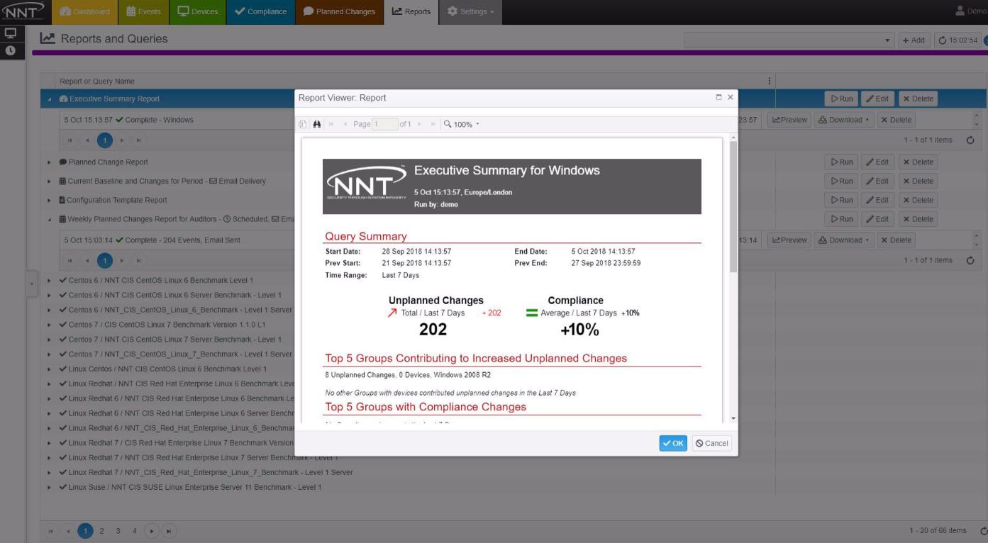 NNT Change Tracker report viewer
