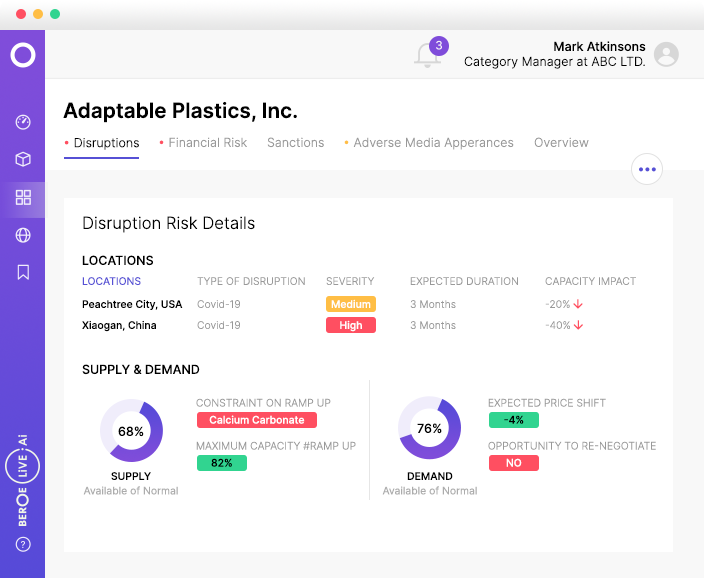 Supplier Risk & Monitoring - Determine the impact of event-led disruption (from covid-19 to hurricanes) on your supply chain. Get visibility into your supplier's compliance credentials covering financial, ethical, and environmental certifications.