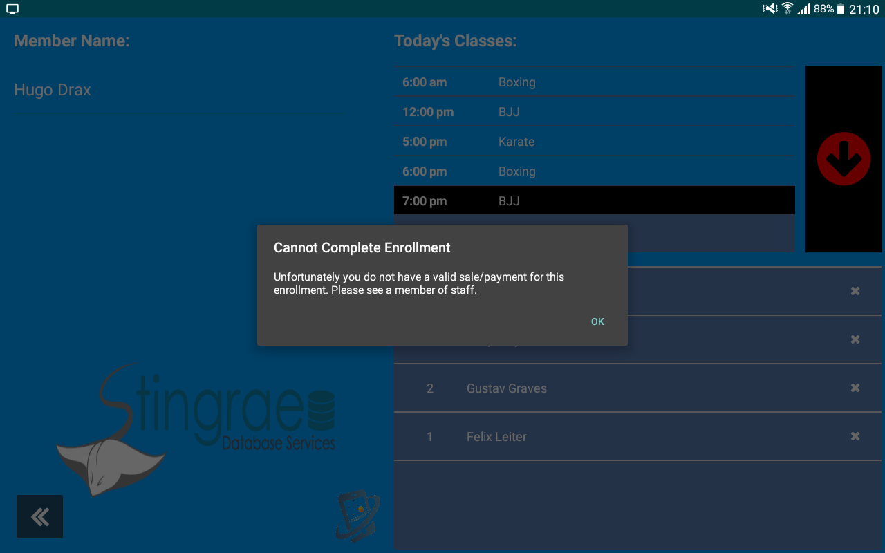 Arnold reception app screenshot
