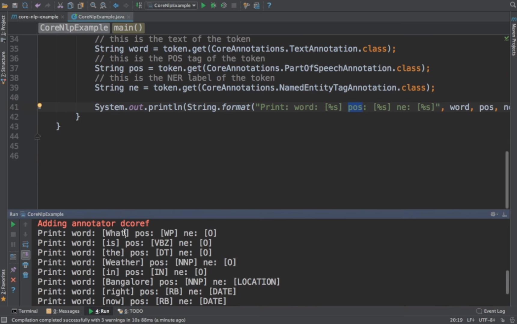 CoreNLP run annotator