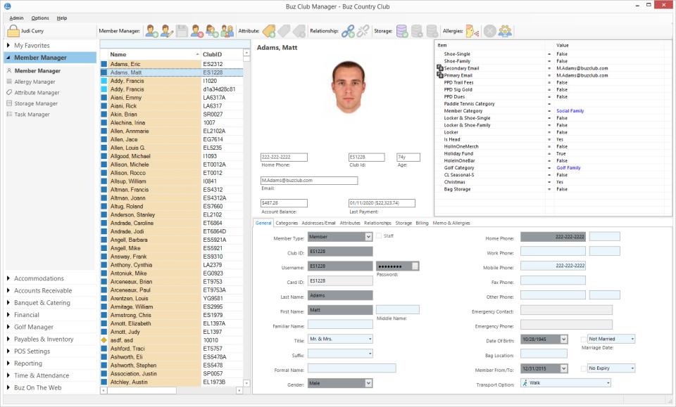 Buz Club Manager Software - Buz Club Manager member details