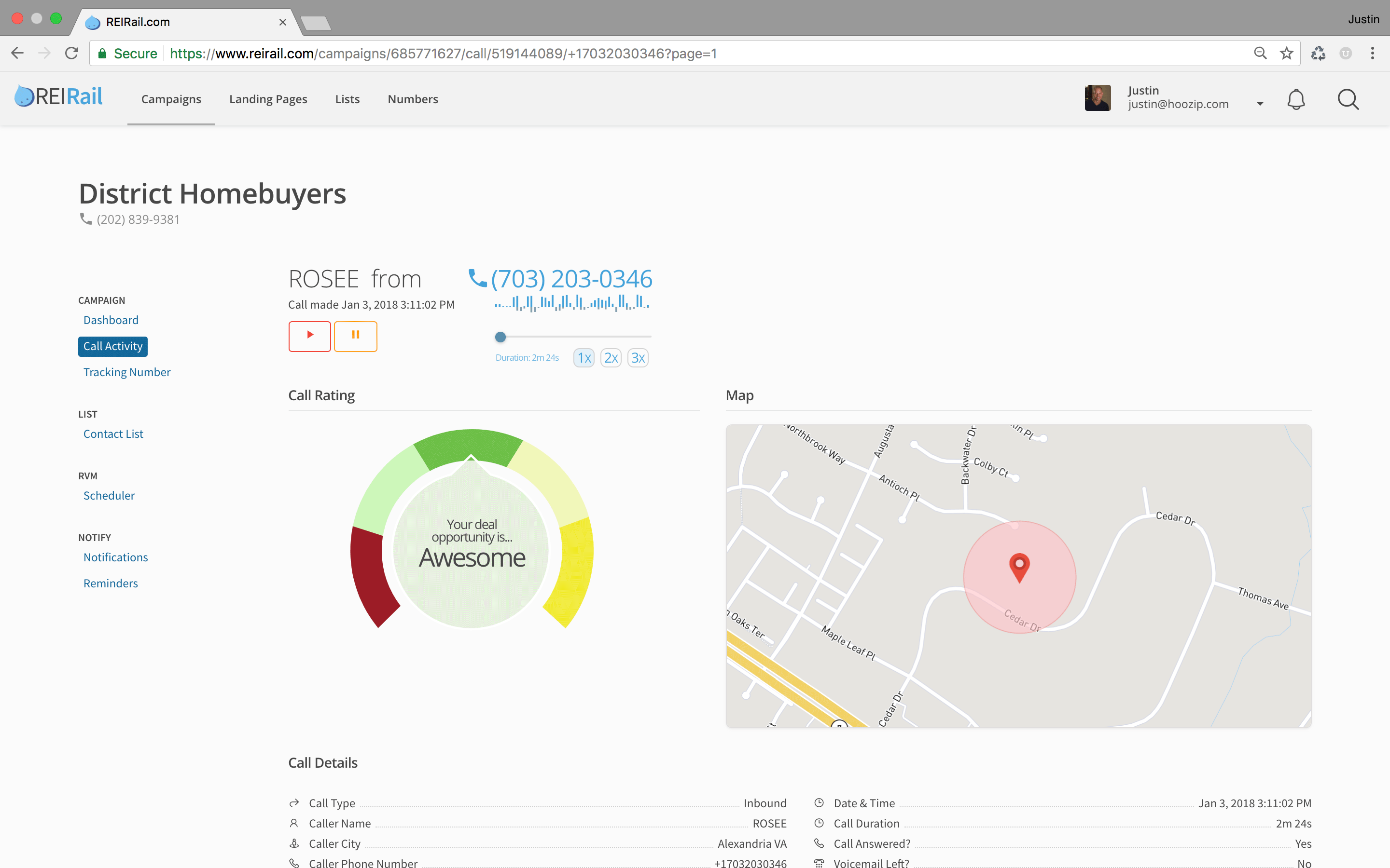 REIRail AI-enabled call activities tracking