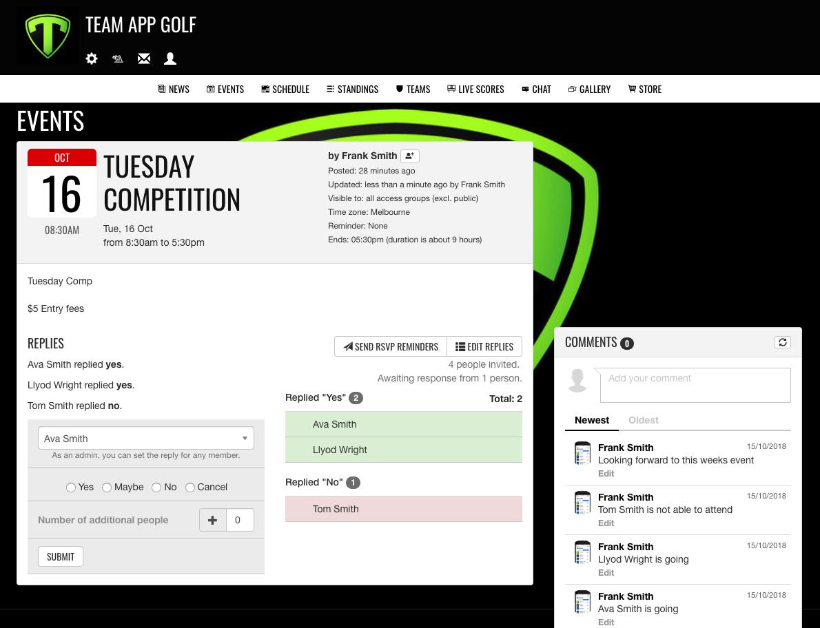 Team App event details