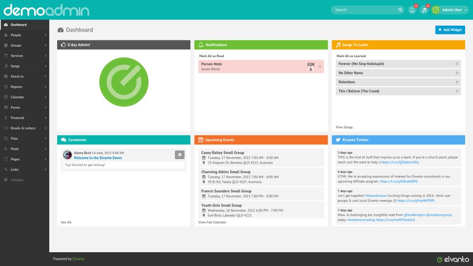 Elvanto showing the admin dashboard