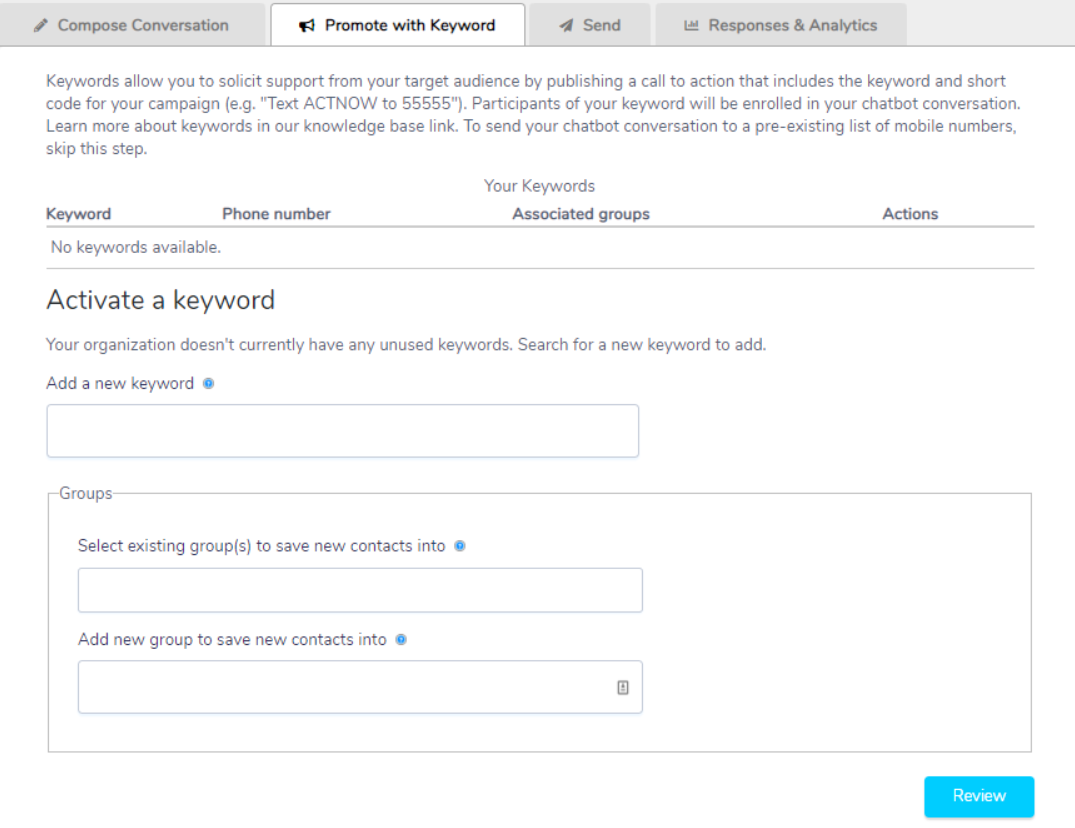 New/Mode keyword activation