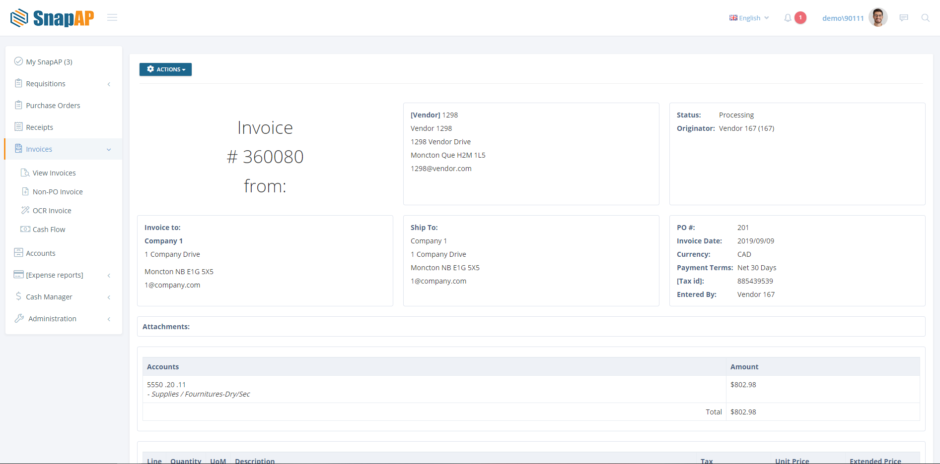 SnapAP Software - Invoice processing