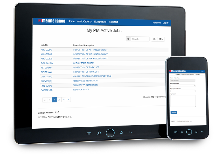 Manage jobs from mobile and tablet devices as FTMaintenance is mobile optimized