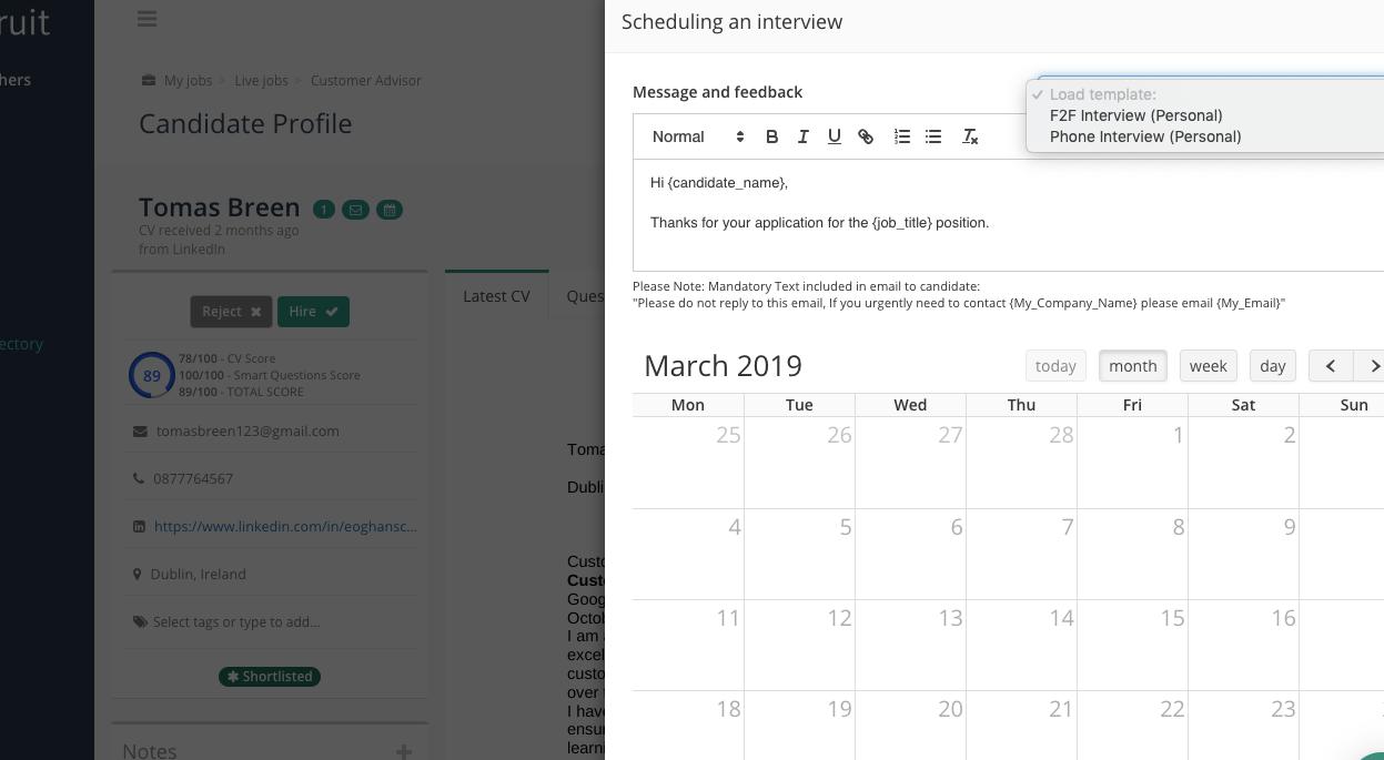 Occupop screenshot: Occupop interview scheduling
