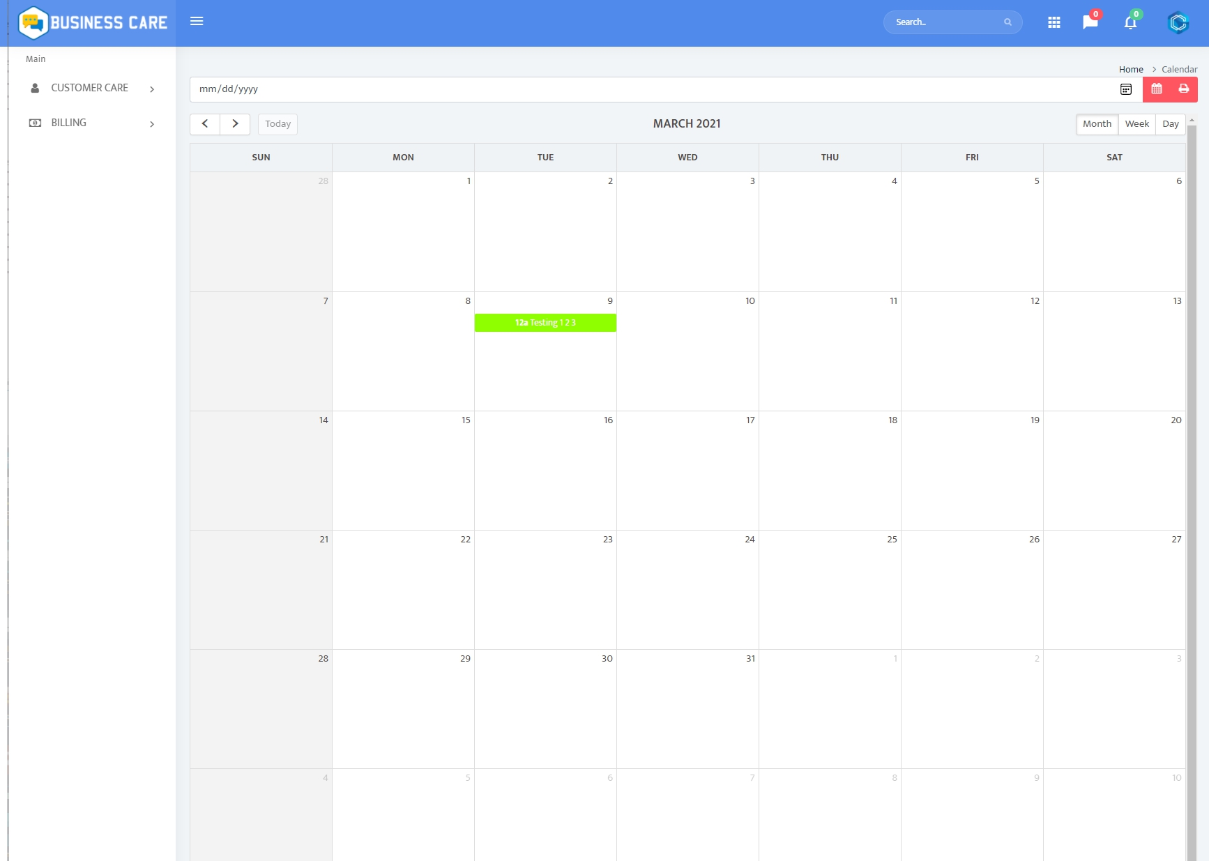 Calendar with Client Scheduling and Important Dates