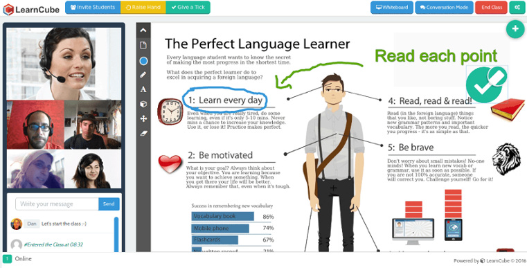 LearnCube Software - Classroom interface