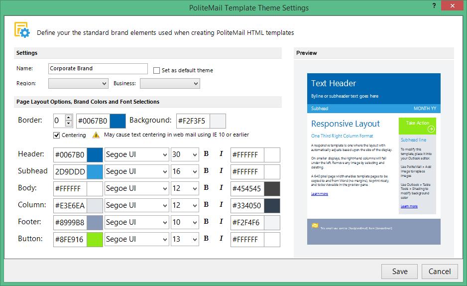PoliteMail screenshot: PoliteMail theme settings