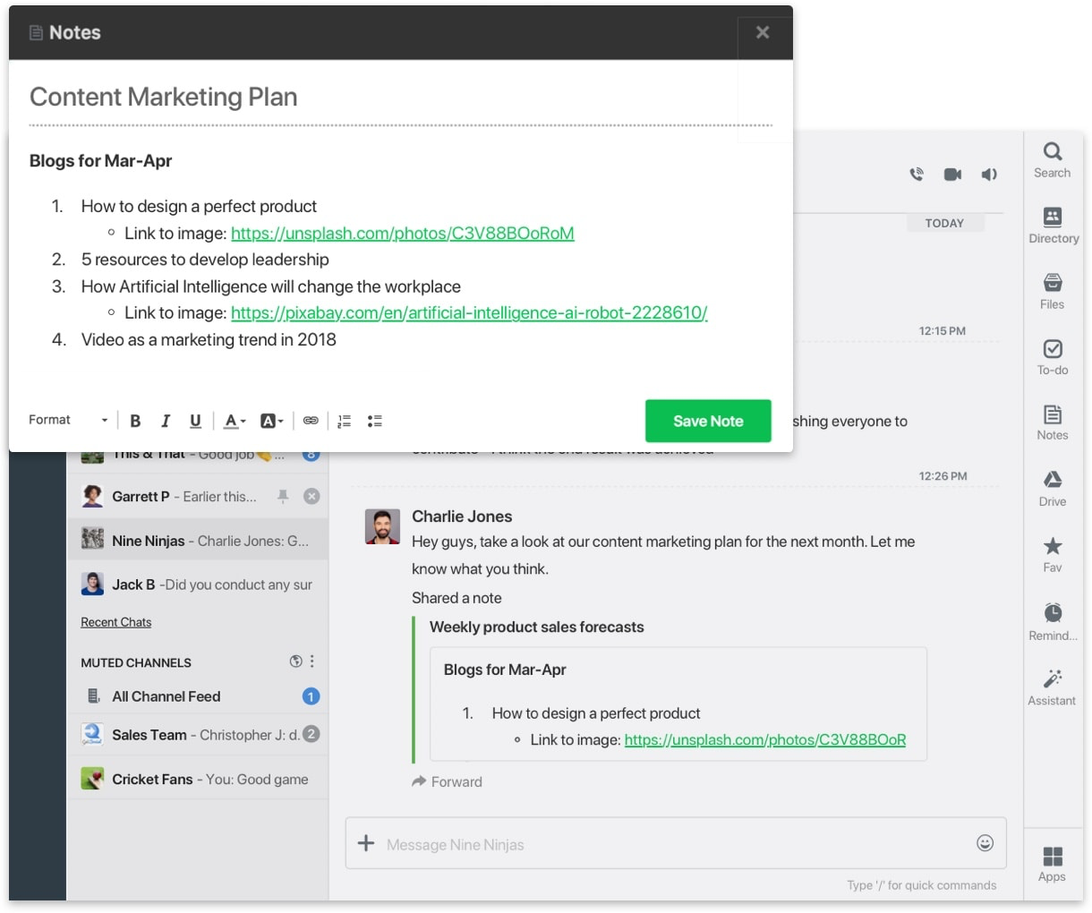 Create notes and collaborate with teams on the go