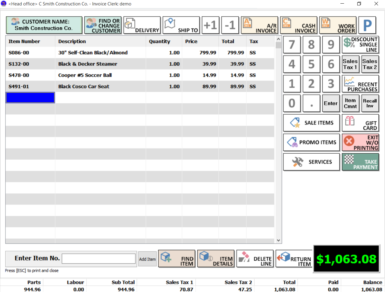 Windward System Five Software - Customer invoice
