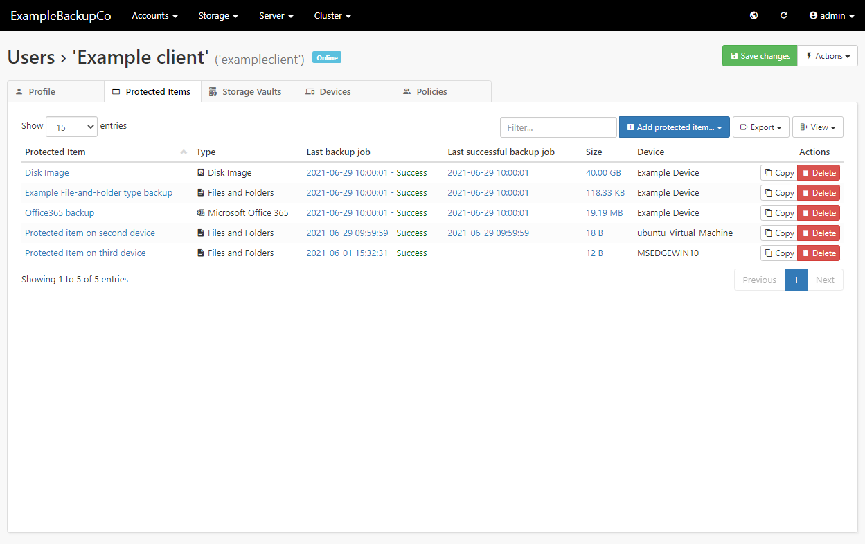 Comet Backup Software - Protected Items screen - Files and Folders selected
