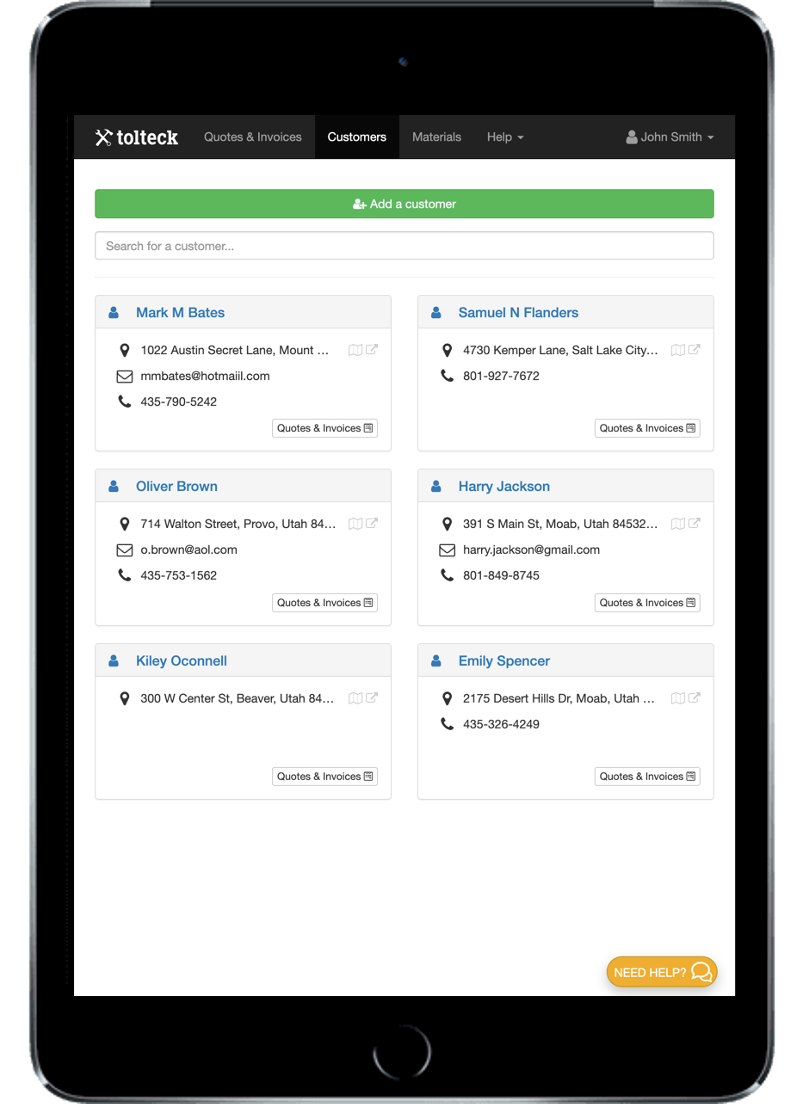 Tolteck includes a CRM: add clients and visualize all of their information and location.