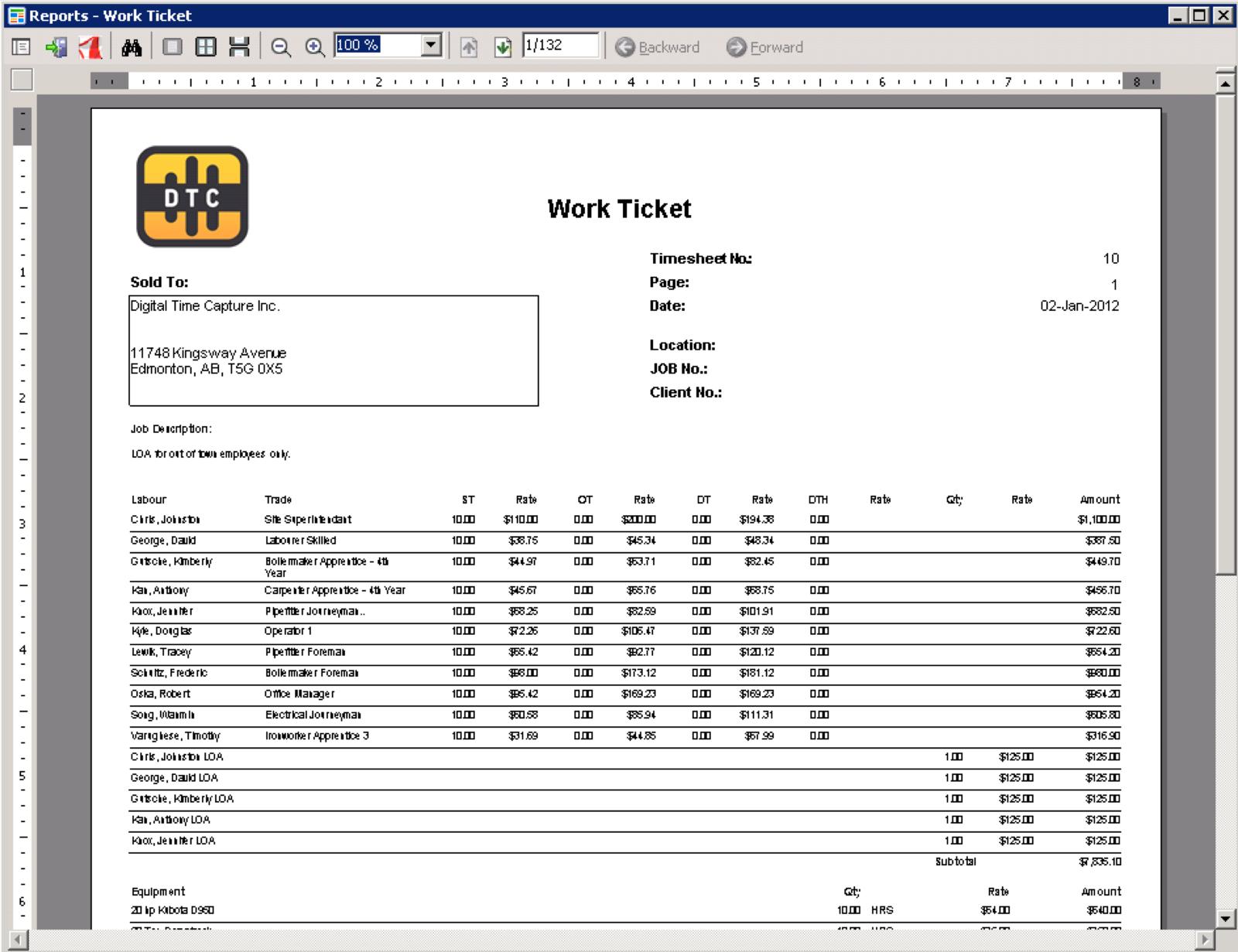 Work Ticket Report