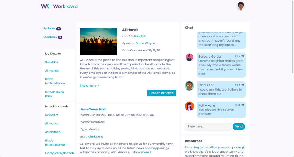 Better organize your employee communities with events, chat, documents, announcements, member lists, and more all in one place. Ensure every employee immediately feels welcome and knows how they can get involved in your company culture from day one