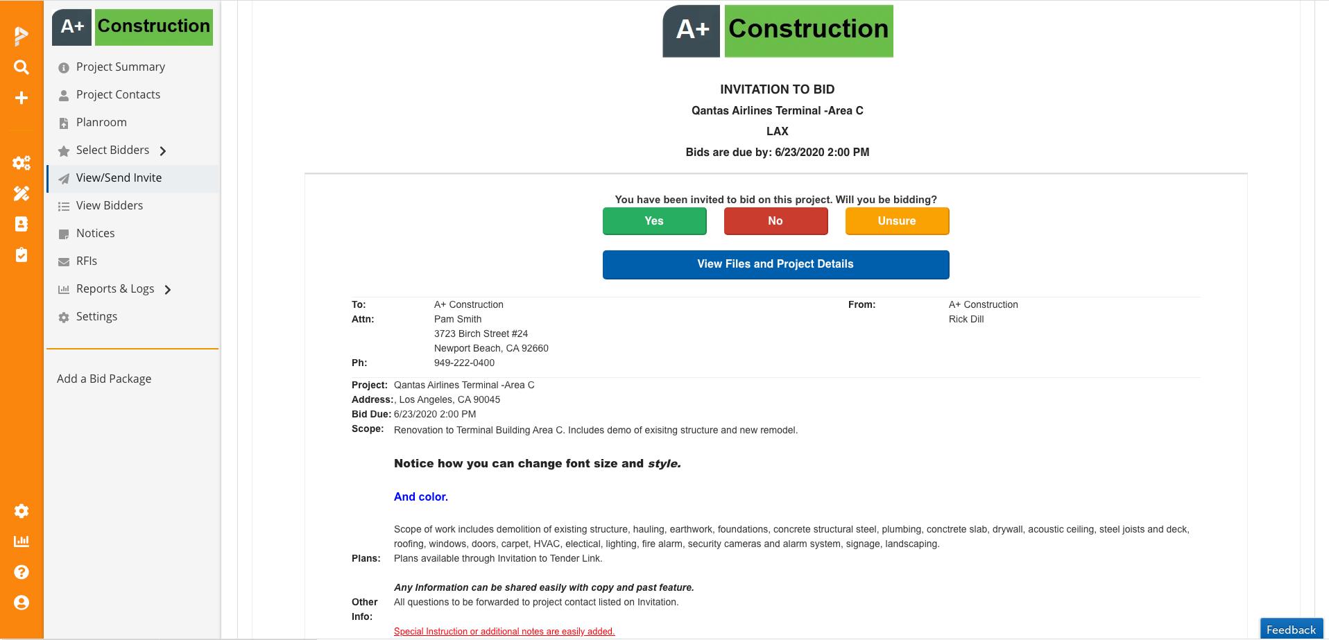 PipelineSuite Bid Management Software - Bid Invitation