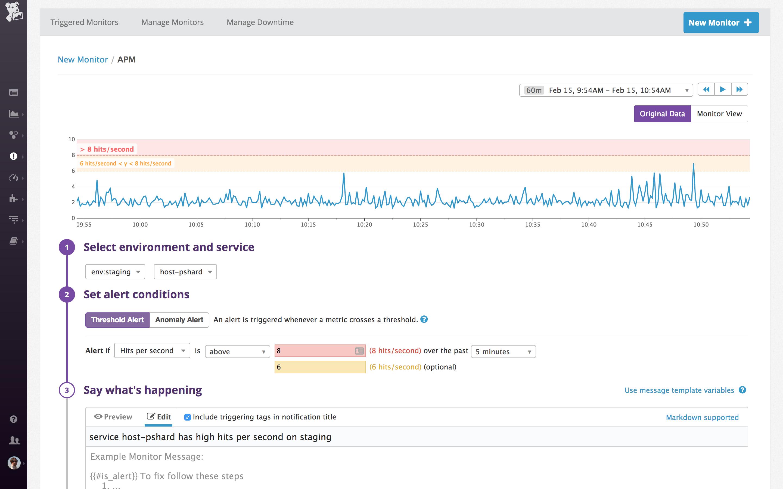 Datadog create new monitor