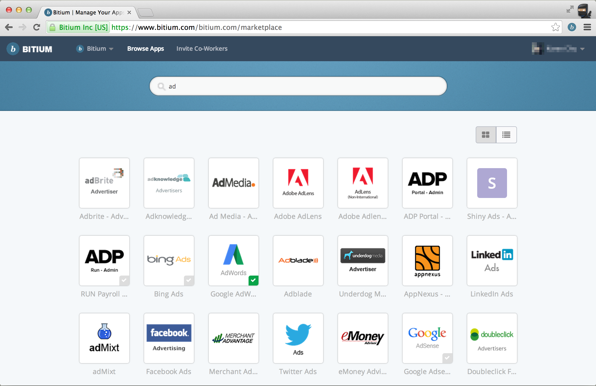 Bitium screenshot: Browse for integrated apps in the Bitium Marketplace