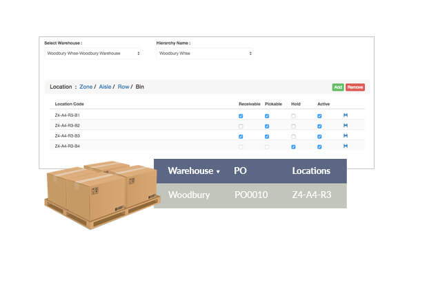 Location hierarchies can be created to organize warehouses, with zones, aisles, rows, and bins