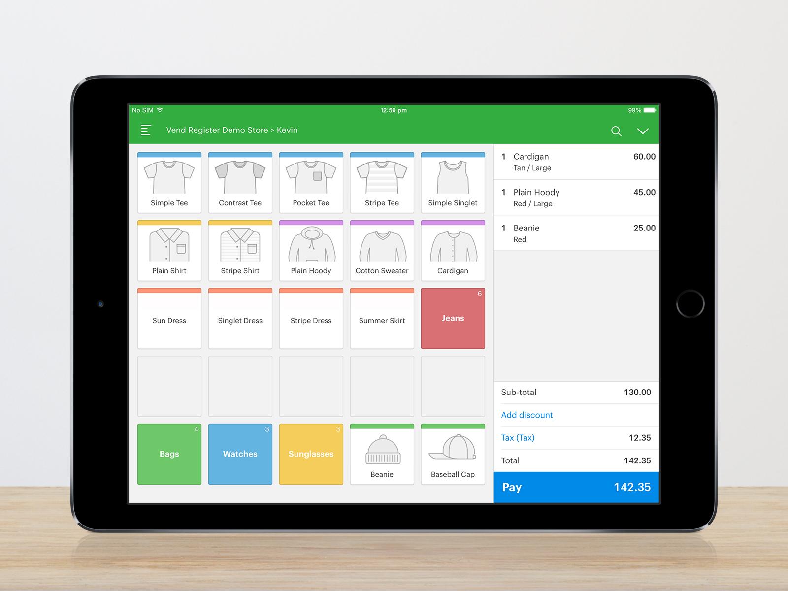 Vend Software - Sales screen