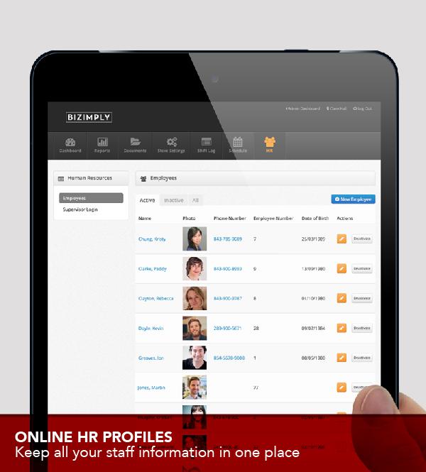 Bizimply Software - Manage employees data