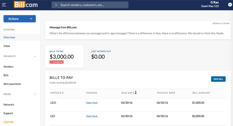 Bill.com Software - Dashboard