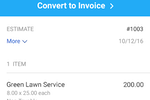 Quickbooks Online screenshot: Estimates can be converted into invoices