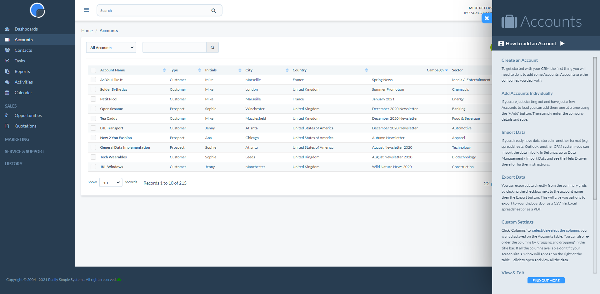 Really Simple Systems CRM Software - Company Accounts with Help Drawer open