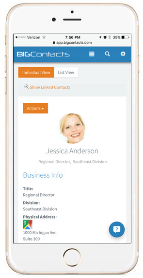 Access important Contact information from any Mobile device