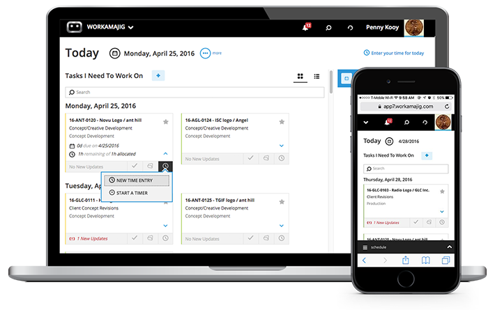 Workamajig screenshot: Access Workamajig from any device, anywhere, and at anytime