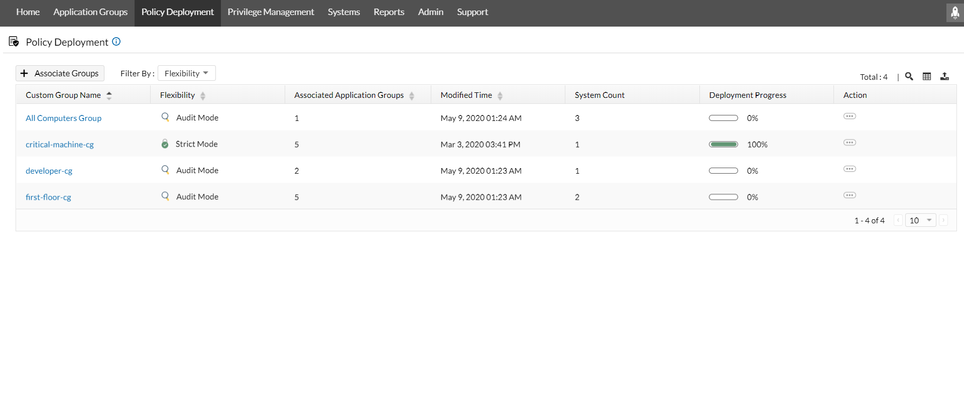 ManageEngine Application Control Plus policy deployment