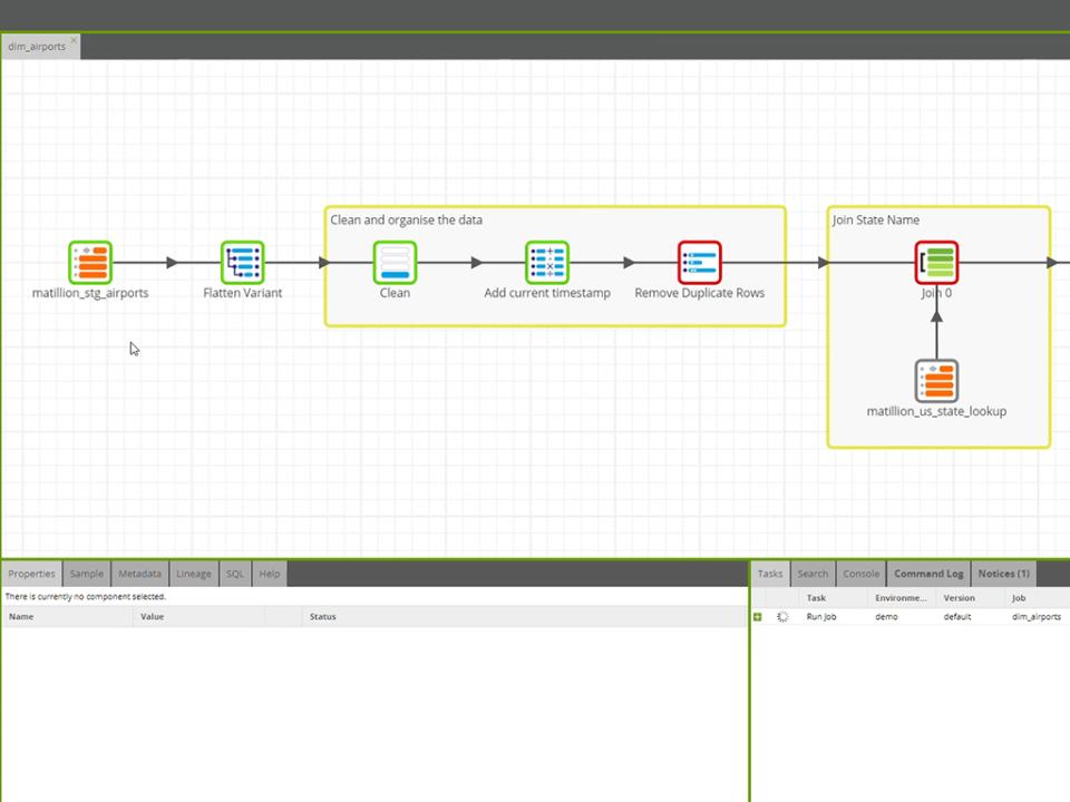 Matillion component failure screenshot
