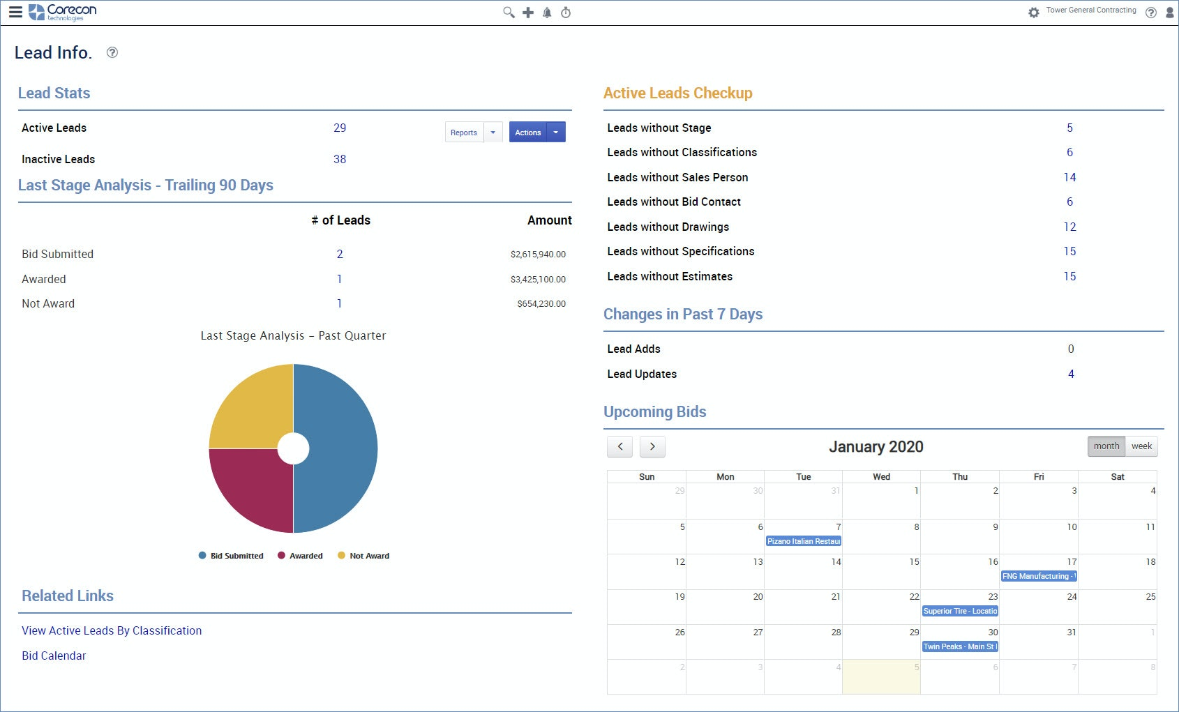 Corecon screenshot: Track Leads (aka Job Opportunities) and Awarded Projects