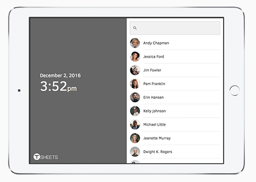 TSheets kiosk time tracking works on any device with an internet connection, including tablets