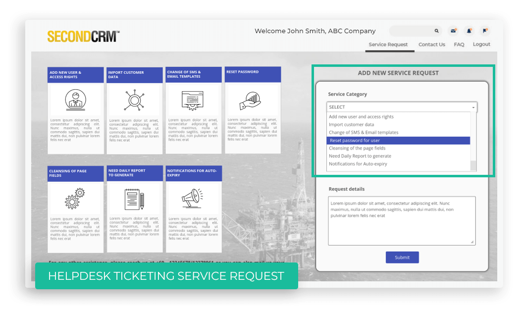 Portal allows customers to submit a service request in case they face any issue or have some query. They can also track updates on their existing requests or add comments.
