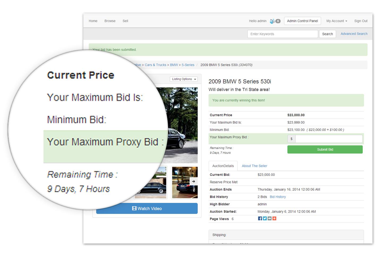 Auction listing