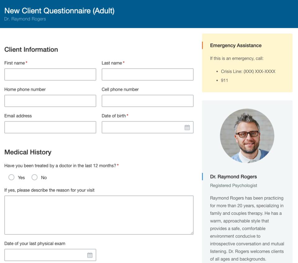 Hushmail new client questionnaire
