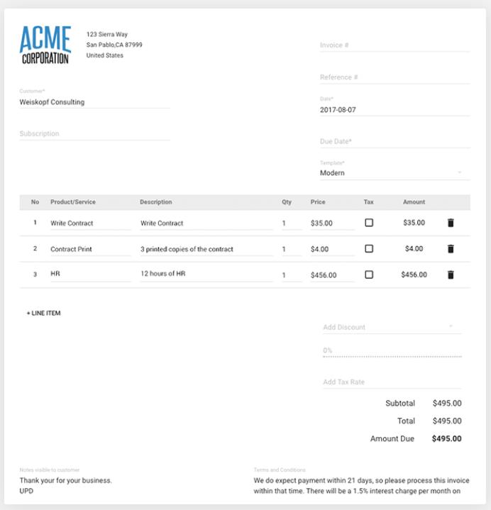Create and send professional, custom Invoices