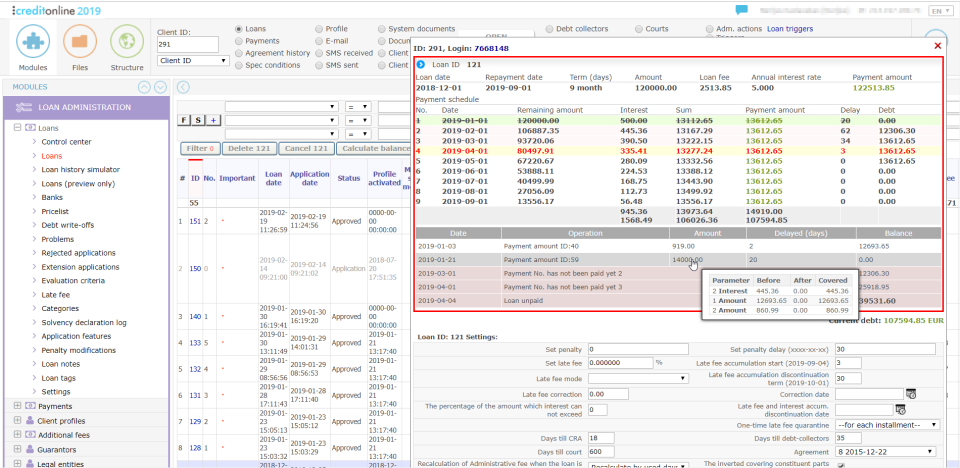 CreditOnline loan administration screenshot
