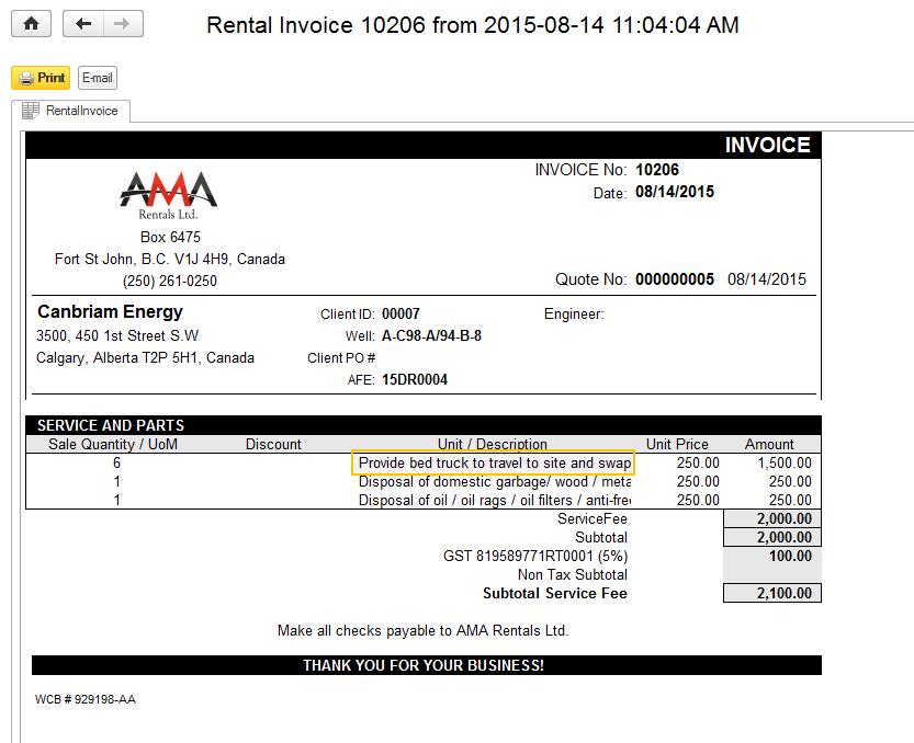 Printable rental invoice