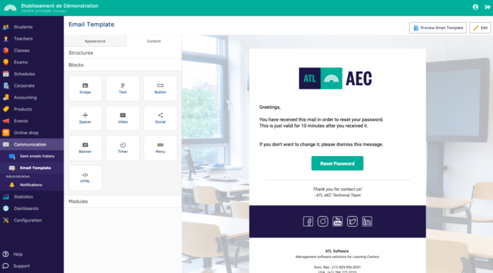AEC Academia email template creation