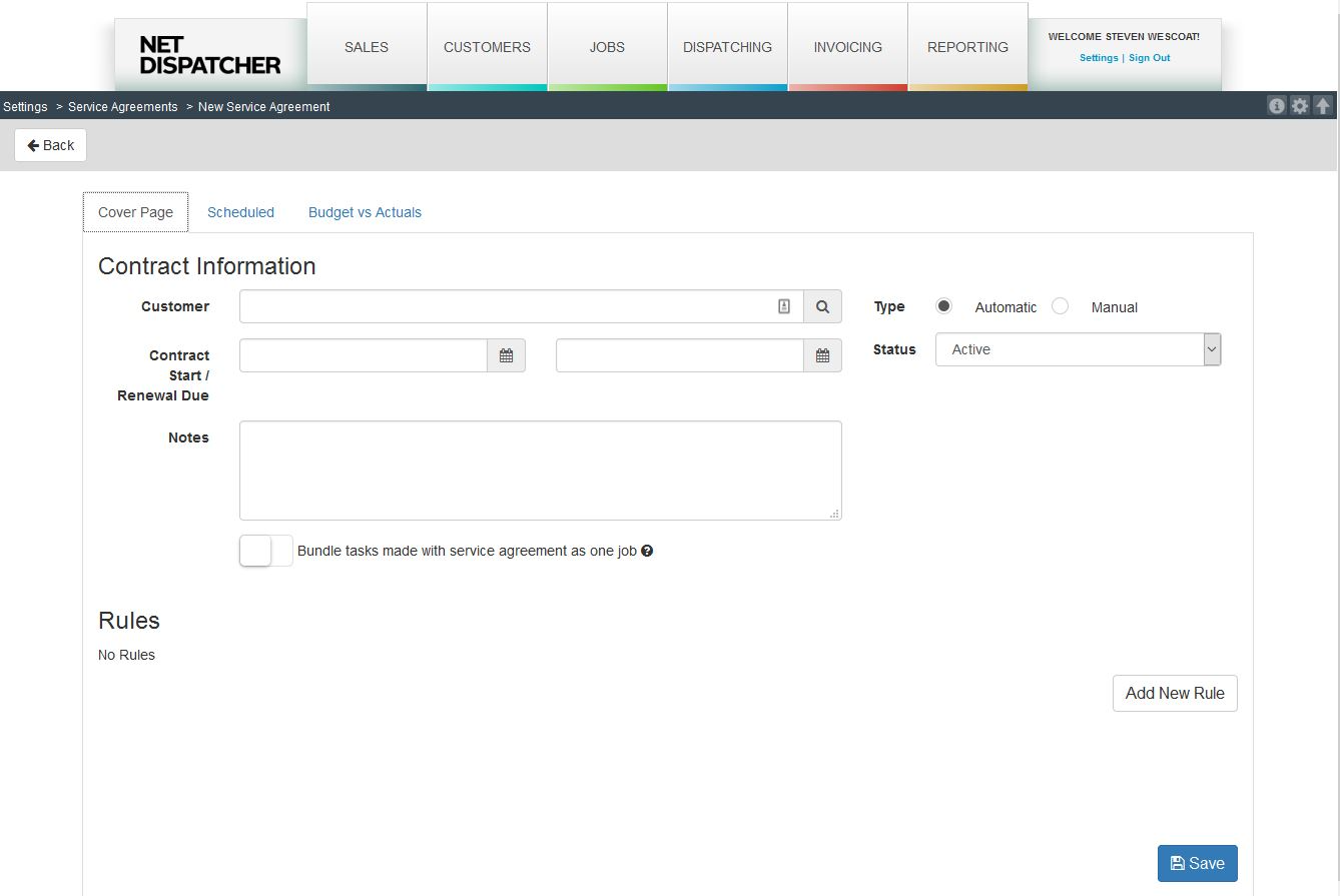 Service Agreements to Automate recurring task and orders