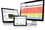Capture d'écran pour ePrint MIS : Users can view reports from the dashboard, create invoices and estimates from templates, and access a client database