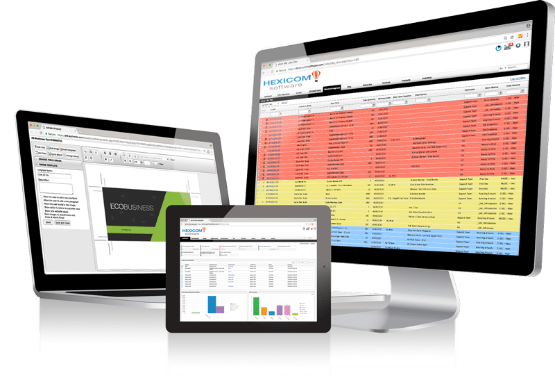 ePrint MIS screenshot: Users can view reports from the dashboard, create invoices and estimates from templates, and access a client database